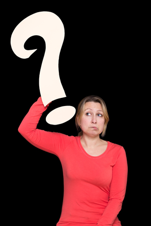 mimo: Woman holds a question mark in the air and makes an cluelessness face