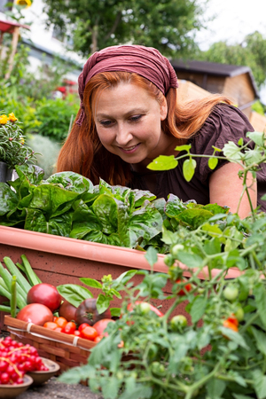 Young woman happy at gardening