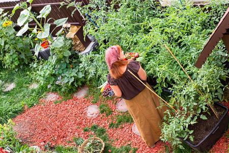 Woman is walking through her green vegetable garden Imagens