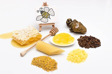 Picture with an assortment of different bee products Stock Photo
