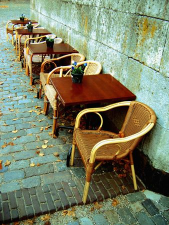 Terrace details with autumn leaves on the pavement.  photo