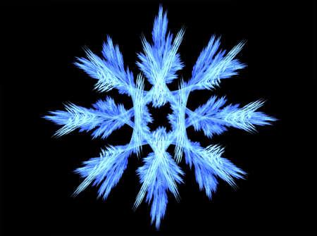 Rendered beautiful blue snowflake isolated on black background. photo