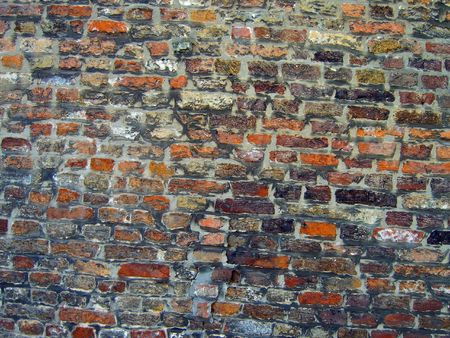 systematic: Profile on an oldmedieval  brick wall.