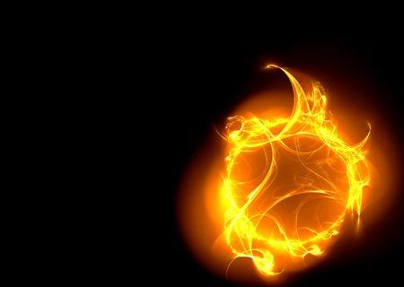 palla di fuoco: Alta risoluzione resi frattale, la forma-come palla di fuoco, isolata su sfondo nero.  Archivio Fotografico