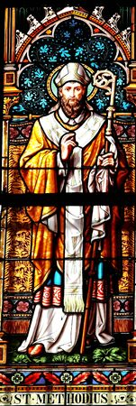 Saint Methodius,stained glass in St.Vitus cathedral, Prague. photo