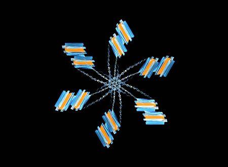 Computer generated illustration, rendered fractal- flower shape- like, isolated on black background. illustration