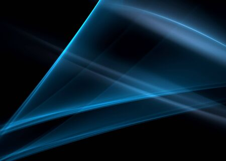 Blue abstract waves on a black background-3D rendered fractal. Stock Photo - 3133270