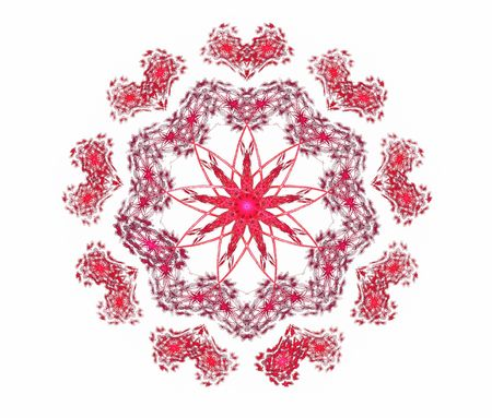 3D rendered complex flower fractal surrounded by cute heart shapes. photo