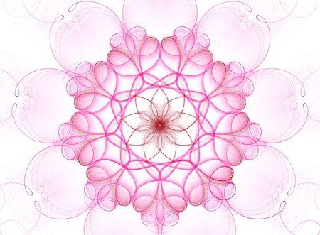 inmejorablemente: Beautiful 3D prestados complejo flor fractal, aislados en fondo blanco, ideal para tarjetas postales y las invitaciones de boda.