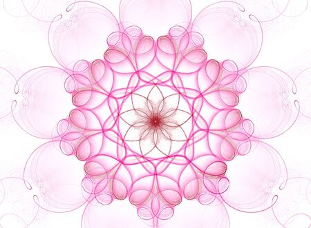 Beautiful 3D rendered complex flower fractal, isolated on white background ,ideally for postcards and  invitations. photo