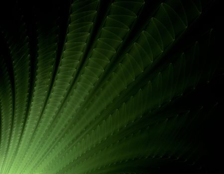 3D rendered fractal:green waves on black background. Stock Photo - 3424795