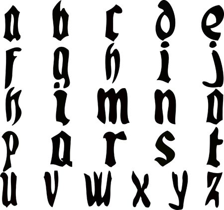 enumeration: Computer generated vector illustration:complete list of alphabet letters in old style writing.