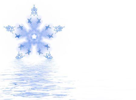 Computer generated illustration:melting blue snowflake isolated on white . illustration