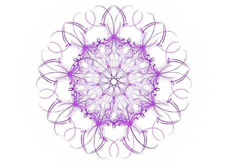 mauve: Mauve mandala flower fractal isolated on white background. Stock Photo