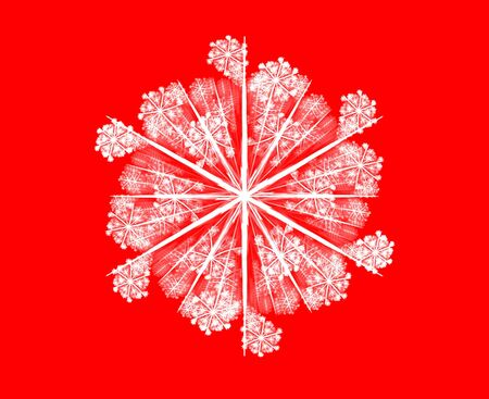 3D rendered beautiful white snowflake isolated on red background. photo