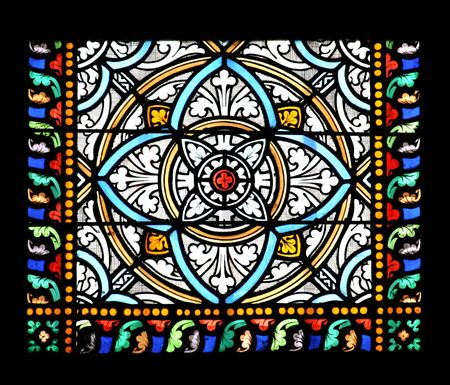 Stained glass window in St.Samson cathedral, Dol-de-Bretagne, France.   Stock Photo