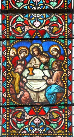 Stained glass window in St.Samson cathedral, Dol-de-Bretagne, France, depicting a biblical scene: The Last Supper.