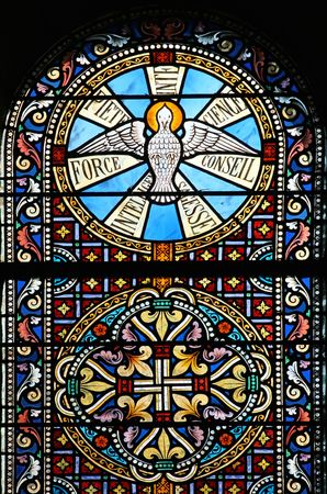 window glass: Beautiful stained glass window (Brittany, France).