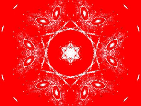 ramification: 3D rendered beautiful white snowflake isolated on red background.