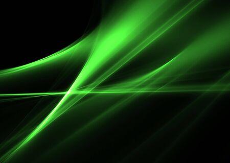 Green waves on a black background- elegant 3D rendered fractal. photo