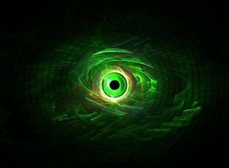 ramification:  Mystic green eye: 3D rendered fractal. Stock Photo