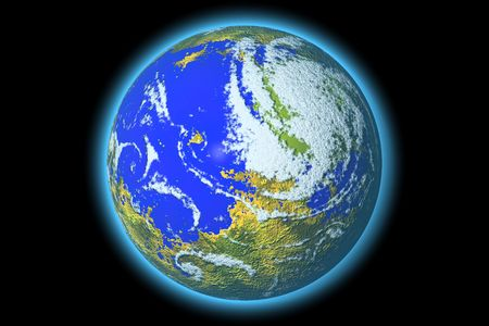 Realistic 3D rendering of the Earth planet isolated on black background. photo