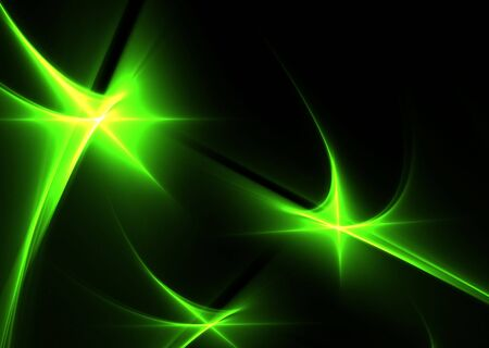 Green abstract shapes on a black background-3D rendered fractal. Stock Photo - 4674196