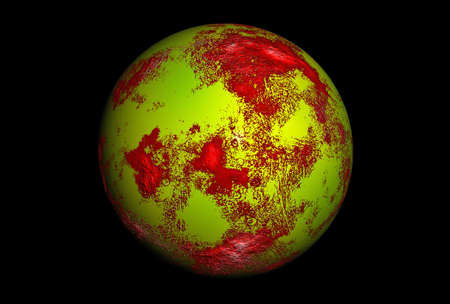 Beautiful 3D rendering of an alien planet, isolated on black background. photo