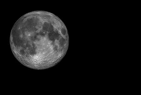 Realistic 3D rendering of the full Moon isolated on black background. Stock Photo - 4622025