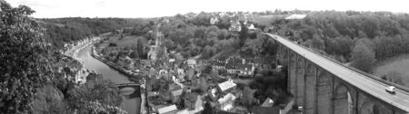 dinan: The old town Dinan (Brittany, France)-panorama view in black and white tones.