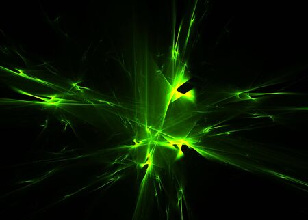 Green abstract shapes on a black background-3D rendered fractal. Stock Photo - 5166850