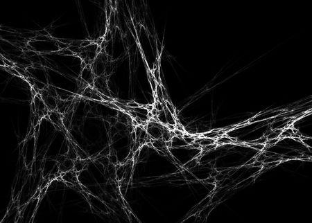 Beautiful 3D rendered spider web fractal on black background. Stock Photo