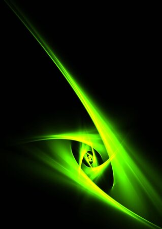 Green abstract curves on black background-beautiful 3D rendered fractal. photo