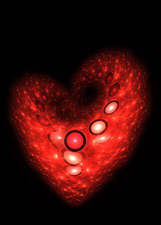 Beautiful computer generated illustration:3D rendered valentine heart fractal. illustration