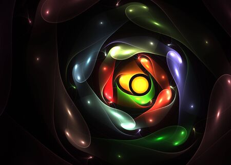 Pearls of color over black: beautiful 3D fractal.