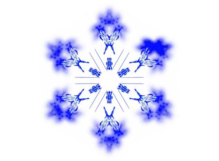 dendrites: 3D rendered blue snowflake isolated on white background. Stock Photo