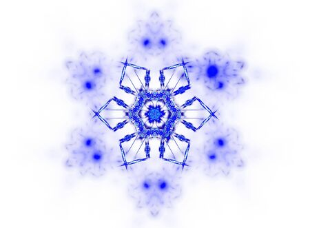 dendrites:  3D rendered blue snowflake isolated on white background.