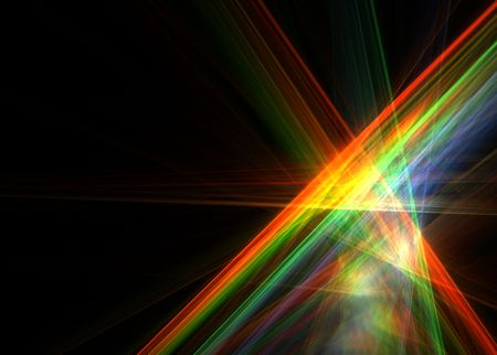 Multicolor abstract flames on black background-3D rendered fractal.