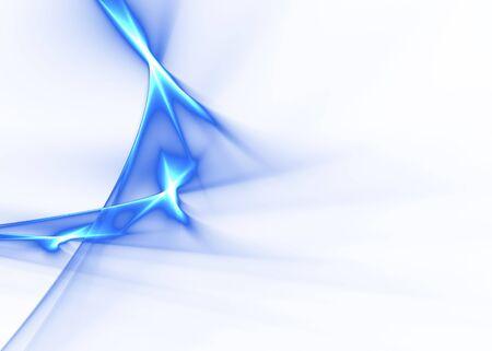 Blue abstract flames on white: elegant 3D rendered fractal.