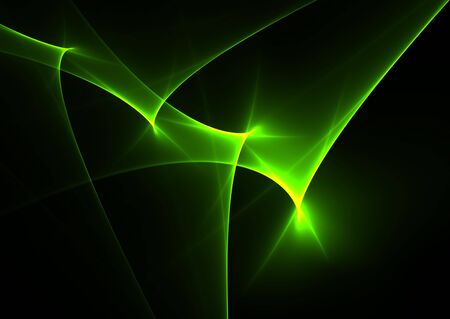 Green  rays on black background- beautiful 3D rendered fractal.