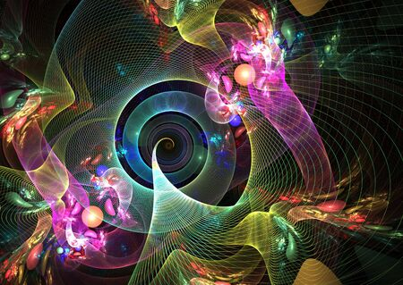 3D rendered fractal: multicolor abstract shapes over black background. Stock Photo