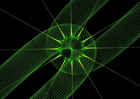 Green lines over black: rendered abstract 3D fractal. photo