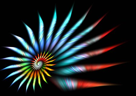 Rainbow spiral over black: beautiful 3D rendered fractal. Stock Photo