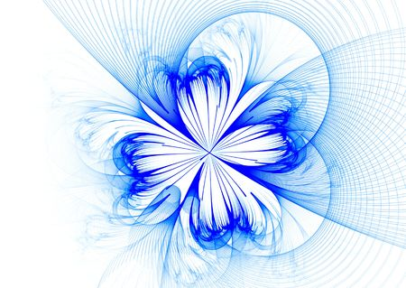 mystique:  Blue flower fractal isolated on white background- beautiful 3D rendered illustration.