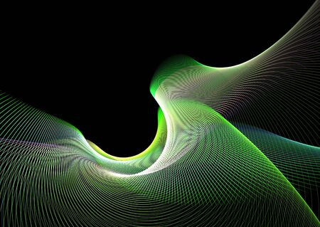 Multicolor abstract waves on black background: 3D rendered fractal. photo