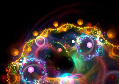 Amazing 3D rendered fractal: multicolor abstract shapes over black background.