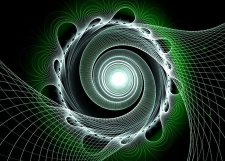 Spirals of green over black background: 3D rendered fractal. photo