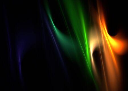 Multicolor elegant flames on black: 3D rendered fractal. photo
