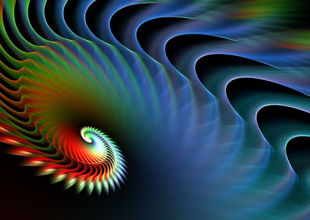 Rainbow spiral over black: beautiful 3D rendered fractal. photo