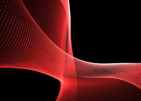 Red wavy patterns on black: beautiful 3D rendered fractal. Stock Photo - 5995861